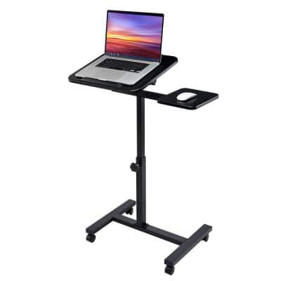26 in. Black Tilting Sit-Stand Computer Desk Cart with Mouse Pad Table