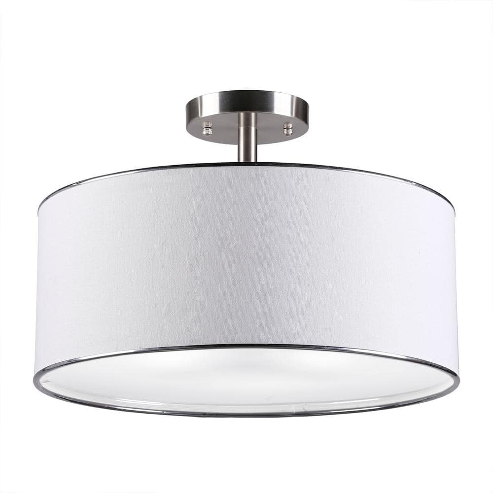 Merra 18 In 3 Light Brushed Nickel Semi Flush Mount With White Fabric Drum Shade Hcf 1303 Bn Bnhd 1 The Home Depot