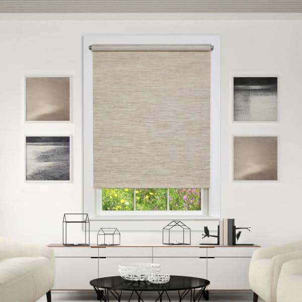 Achim Privacy Natural Cordless Light Filtering Woven Poly Jute Roller Shade 30 In W X 72 In L Cps306nt01 The Home Depot