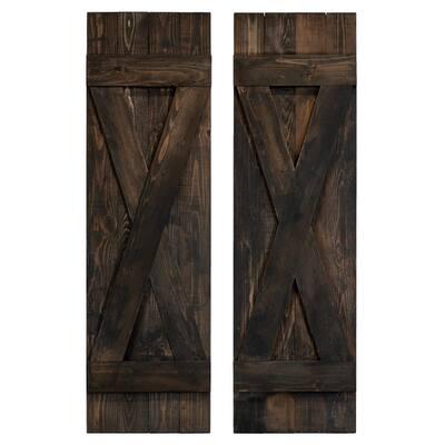 14 in. x 66 in. X Wood Board and Batten Shutters Pair in Slate Black