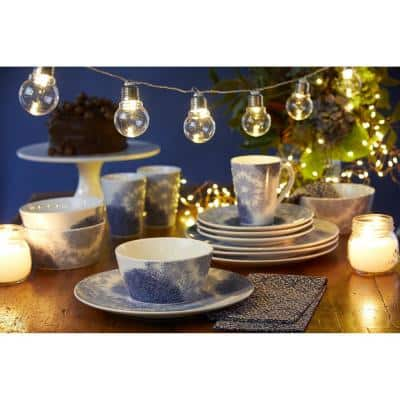 Aozora Blue/White Porcelain Coupe Dinner Plate 11 in.