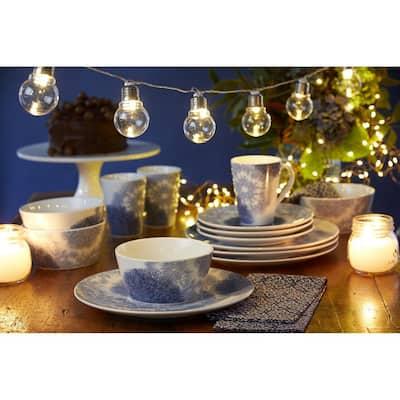 Aozora Blue/White Porcelain Coupe Dinner Plates (Set of 4) 11 in.