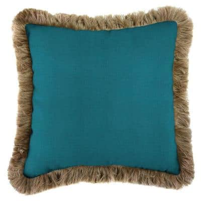 Sunbrella Spectrum Peacock Square Outdoor Throw Pillow with Heather Beige Fringe