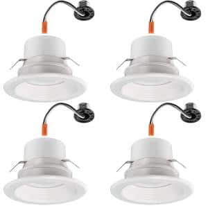 4 in. 30-in-1 Configurations Selectable CCT Integrated LED Recessed Light Trim Downlight Dimmable Wet Rated (4-Pack)