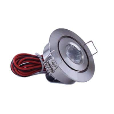 2 in. Bright White Recessed LED Swivel Puck Light, Brushed Steel
