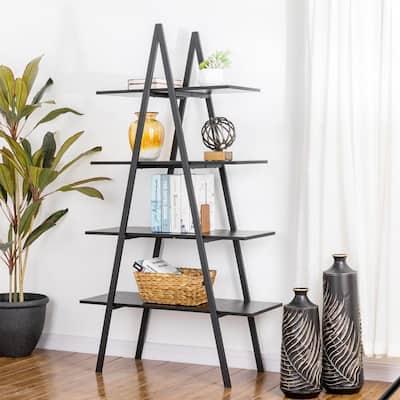 64.5 in. H Modern Industrial Black Oak Melamine Metal 4-shelves Leaning Bookcases and Ladder - Shelf