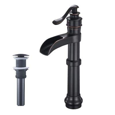 Antique Slim Single-Handle Single Hole Bathroom Faucet with Drain Kit Included in Oil Rubbed Bronze for Vessel Sinks