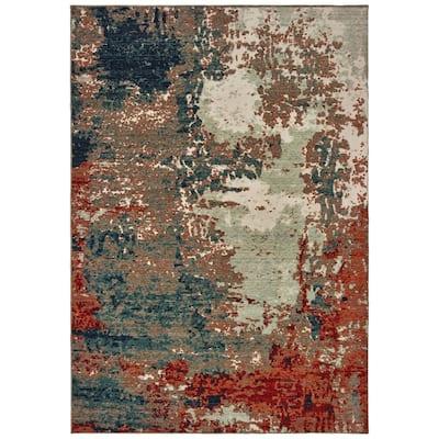 Matthew Blue/Rust 5 ft. x 8 ft. Casual Area Rug