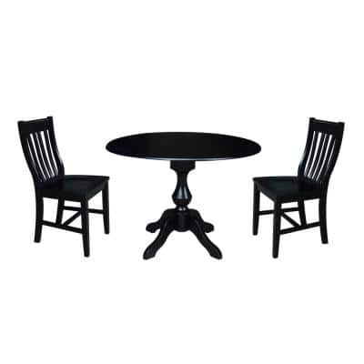Sophia 3-Piece 42 in. Black Round Drop-Leaf Wood Dining Set with Cafe Chairs