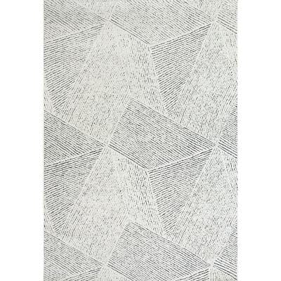 Lotus Ivory/Blue 7 ft. 10 in. x 10 ft. 10 in. Indoor Area Rug