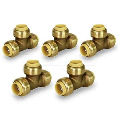 3/4 in. Tee Pipe Fittings Push to Connect PEX Copper, CPVC Brass (5-Pack)