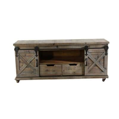 55 in. Natural Brown Wood TV Stand 70 in. with No Additional Features