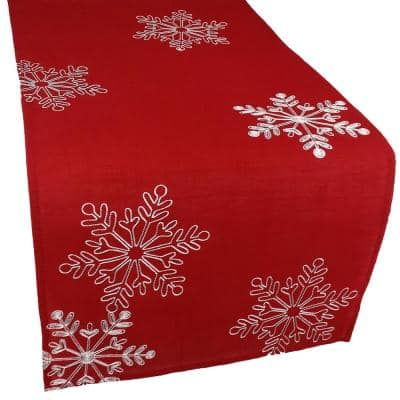 15 in. x 72 in. Christmas Red Table Runner Embroidered With White Snowflakes