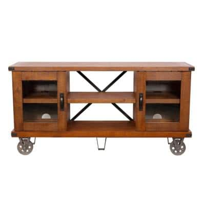 Industrial Collection 61 in. Hewn Pallet Wood TV Stand Fits TVs Up to 70 in. with Storage Doors