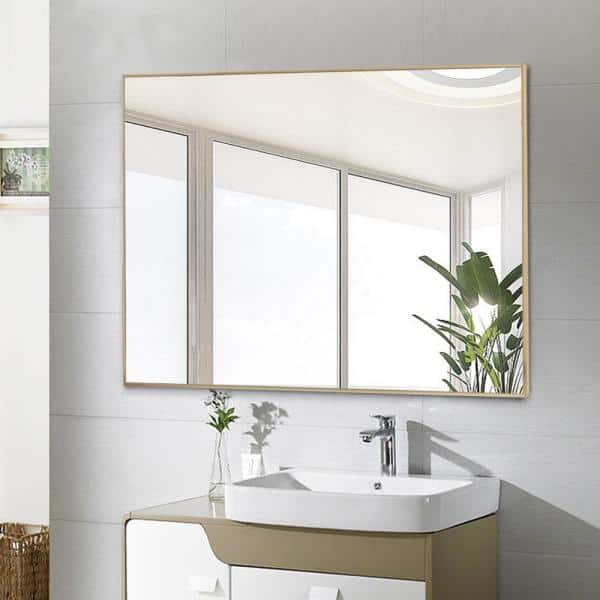 Neu Type 31 5 In X 23 6 In Rectangle Modern Gold Bathroom Vanity Mirror Wall Mounted Or Hanging Jj00387zzen 1 The Home Depot