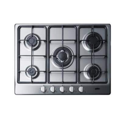 27 in. Gas Cooktop in Stainless Steel with 5 Burners Including Power Burner
