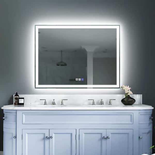 Es Diy 48 In W X 36 H Rectangular, Home Depot Bathroom Mirror Led