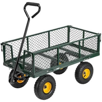 1100 lbs. Capacity Mesh Steel Garden Cart in Green with Removable Sides and Wheels