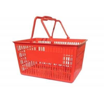 15.5 in. L x 11.5 in. W x 8 in. H Red Plastic Durable Storage Baskets with Easy Grip Plastic