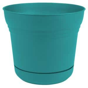 Saturn 10 in. Bermuda Teal Plastic Planter with Saucer