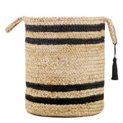 Double Striped Natural Jute Tan / Black 19 in. Decorate Storage Basket with Handles