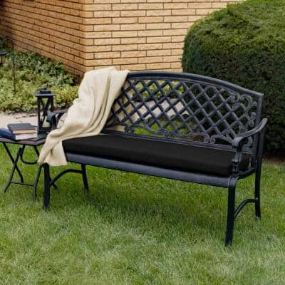 42 x 18 Sunbrella Canvas Black Outdoor Bench Cushion