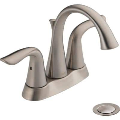 Lahara 4 in. Centerset 2-Handle Bathroom Faucet with Metal Drain Assembly in Stainless