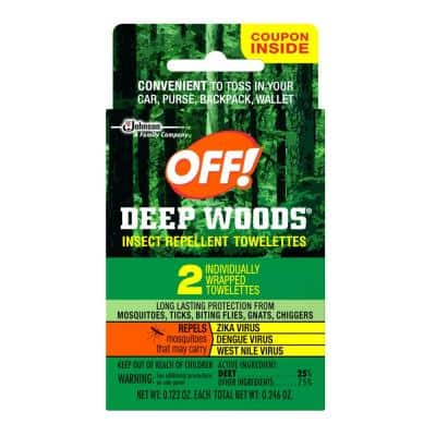 2 count Insect Repellent Towelettes Unscented Deep Woods (case/24)