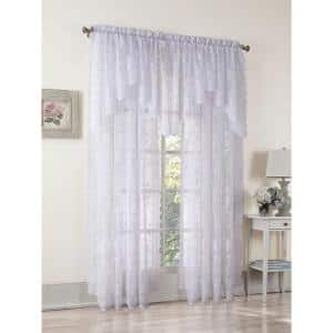 White Solid Lace Rod Pocket Sheer Curtain - 58 in. W x 84 in. L
