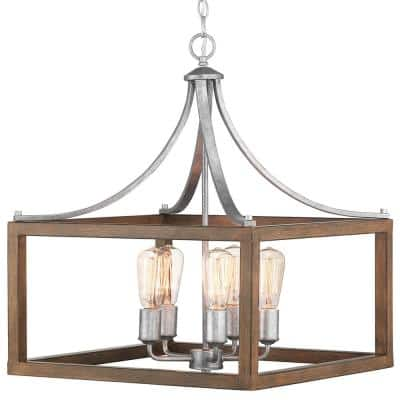 Boswell Quarter 5-Light Galvanized Pendant with Painted Chestnut Wood Accents