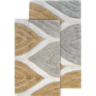 Davenport Antique Gold 21 in. x 34 in. and 24 in. x 40 in. Cotton 2-Piece Bath Rug Set