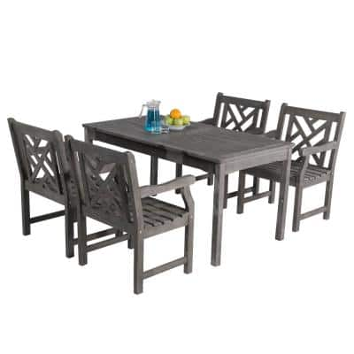 Renaissance Hand-Scraped Acacia 5-Piece Patio Dining Set with Herringbone-Back Armchairs