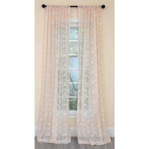 Champagne Damask Rod Pocket Sheer Curtain - 54 in. W x 96 in. L