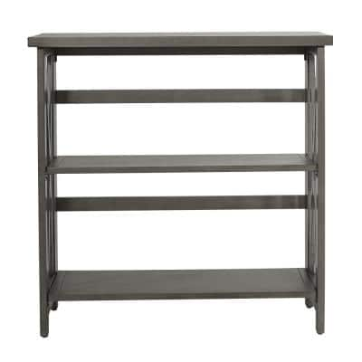 32.25 in. Gray Wood 2-shelf Standard Bookcase with Open Back