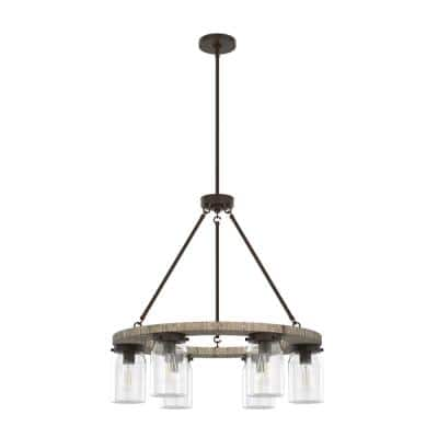 Devon Park 6-Light Onyx Bengal Circular Chandelier with Clear Glass Shades