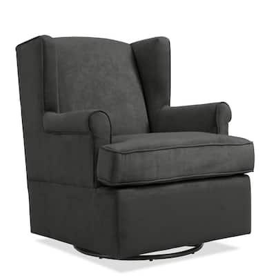 Farris Swivel Glider Gray Microfiber Arm Chair