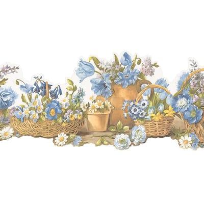 Die Cut Basket Blue, Brown Wallpaper Border