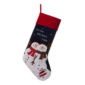 36 in. H Polyester Velvet 3D Oversized Snowman Stocking