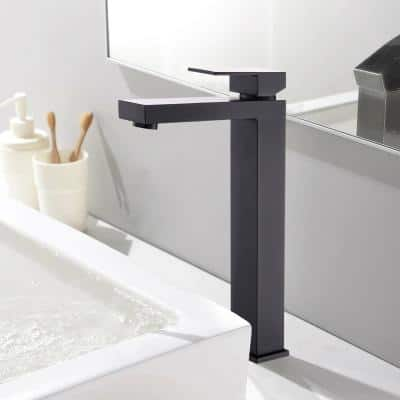 Single Hole Single-Handle Low Arc Waterfall Bathroom Faucet with Supply Lines in Matte Black - Tall