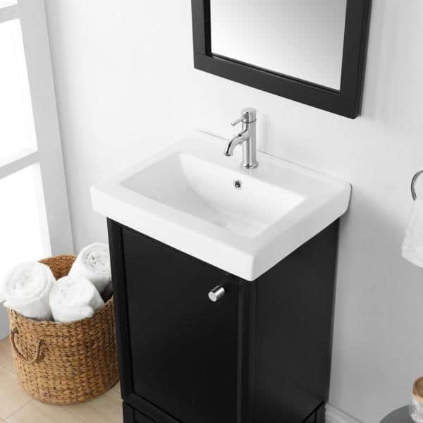 Martha Stewart Living Clarence 20 In Bath Vanity In Impress Black With One Piece Integrated Vanity Top With White Basin 15vva Clar20 05 The Home Depot