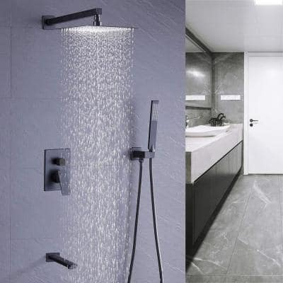 Shower System Wall Mounted with 12 in. Square Rainfall Shower head and Handheld Shower Head Set, Matte Black