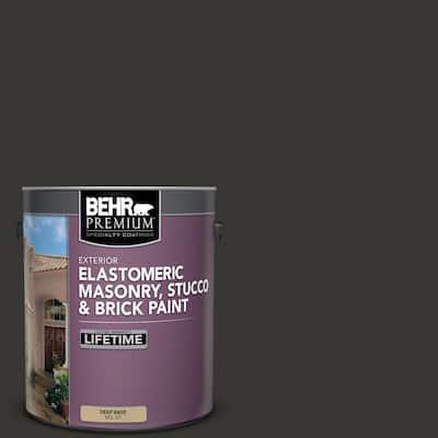 1 gal. Black Elastomeric Masonry, Stucco and Brick Exterior Paint