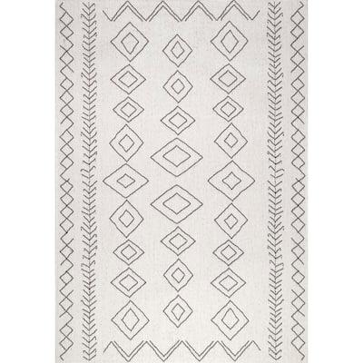 Serna Moroccan Diamonds Ivory 11 ft. x 15 ft. Indoor/Outdoor Area Rug