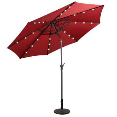 10 ft. Metal Market Solar Tilt Patio Umbrella in Red with Crank and LED Lights