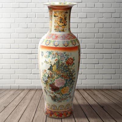 Oriental Furniture 36 in. Multi-Colored Satsuma Peacock Porcelain Tung Chi Vase
