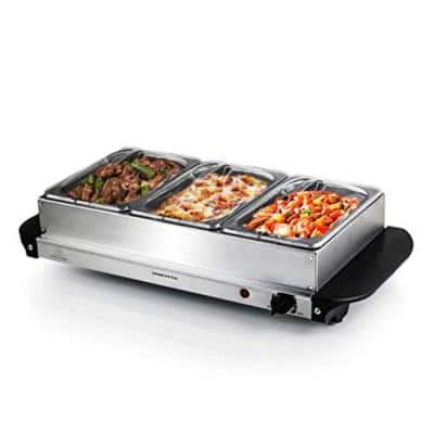 1.5 Qt. Silver Stainless Steel Electric Buffet Server Tray Warming Pans with Adjustable Temperature Control