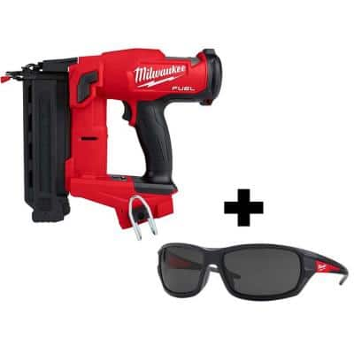 M18 FUEL 18-Volt 18-Gauge Lithium-Ion Brushless Cordless Gen II Brad Nailer and Tinted Performance Safety Glasses