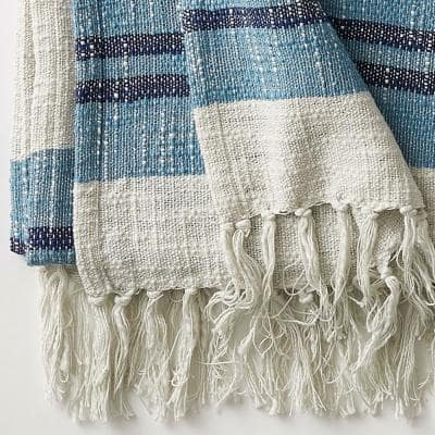 Striped Blue Multicolored Cotton Throw Blanket