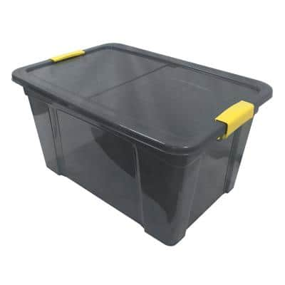 9.5 Gal. Storage Box Translucent in Grey Bin with Yellow Handles with cover