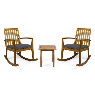 Montrose Teak Brown 3-Piece Wood Patio Conversation Seating Set with Dark Grey Cushions